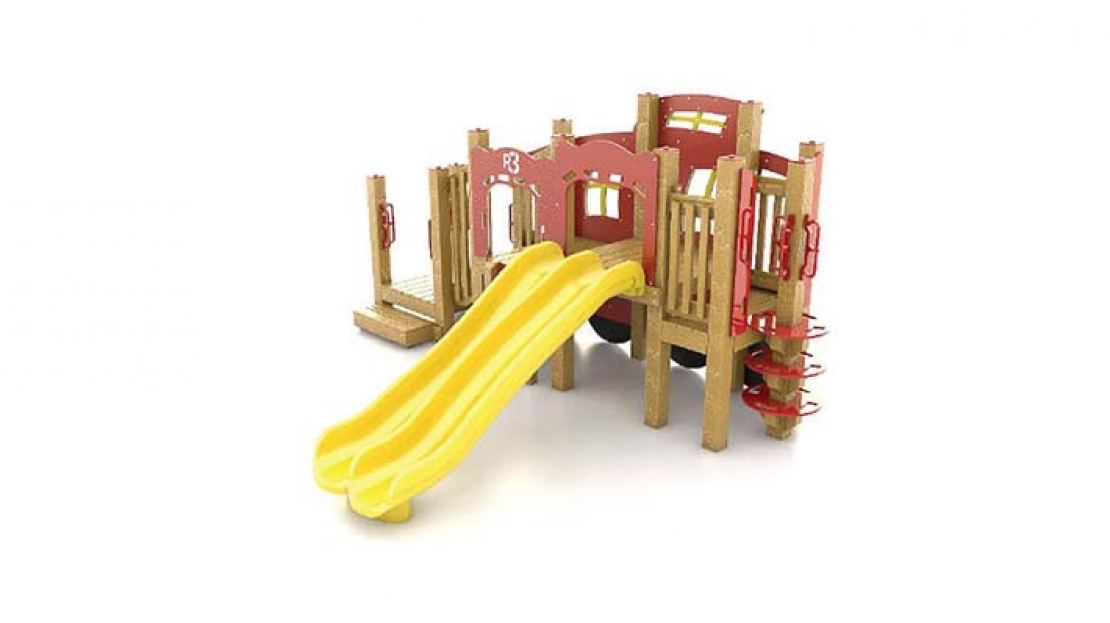 caboose playground with slide