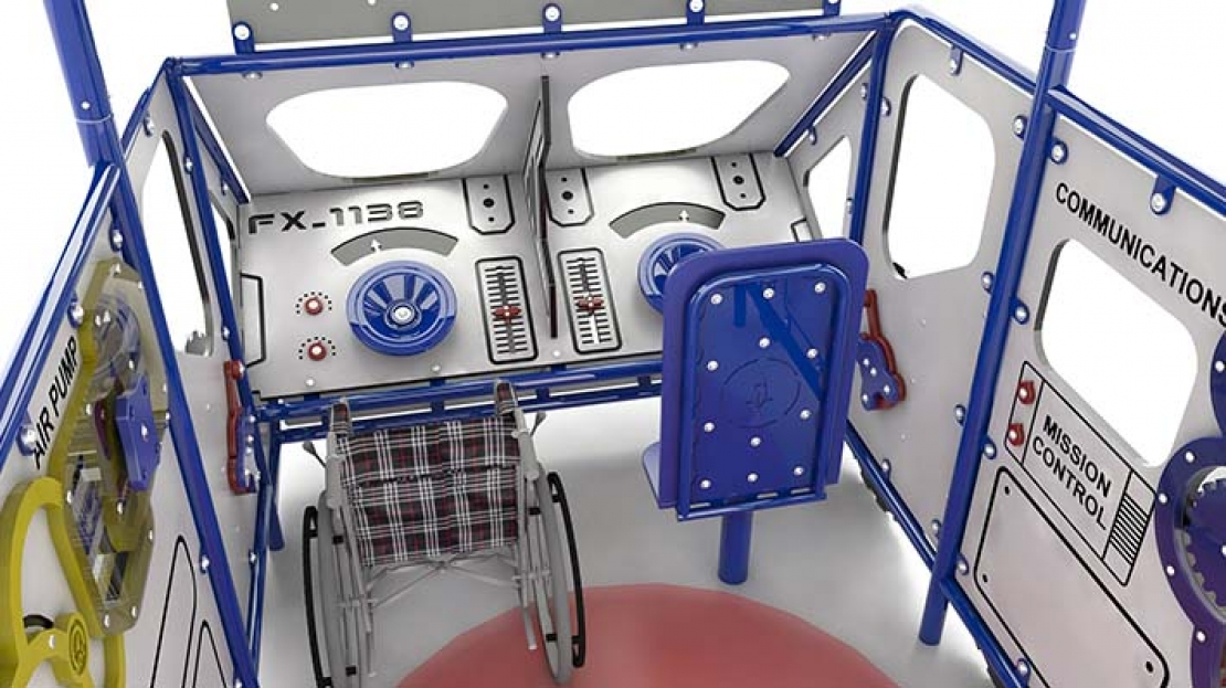 inside lunar rover themed play rendering
