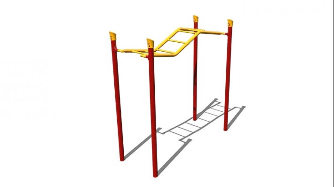wavy straight rung overhead ladder
