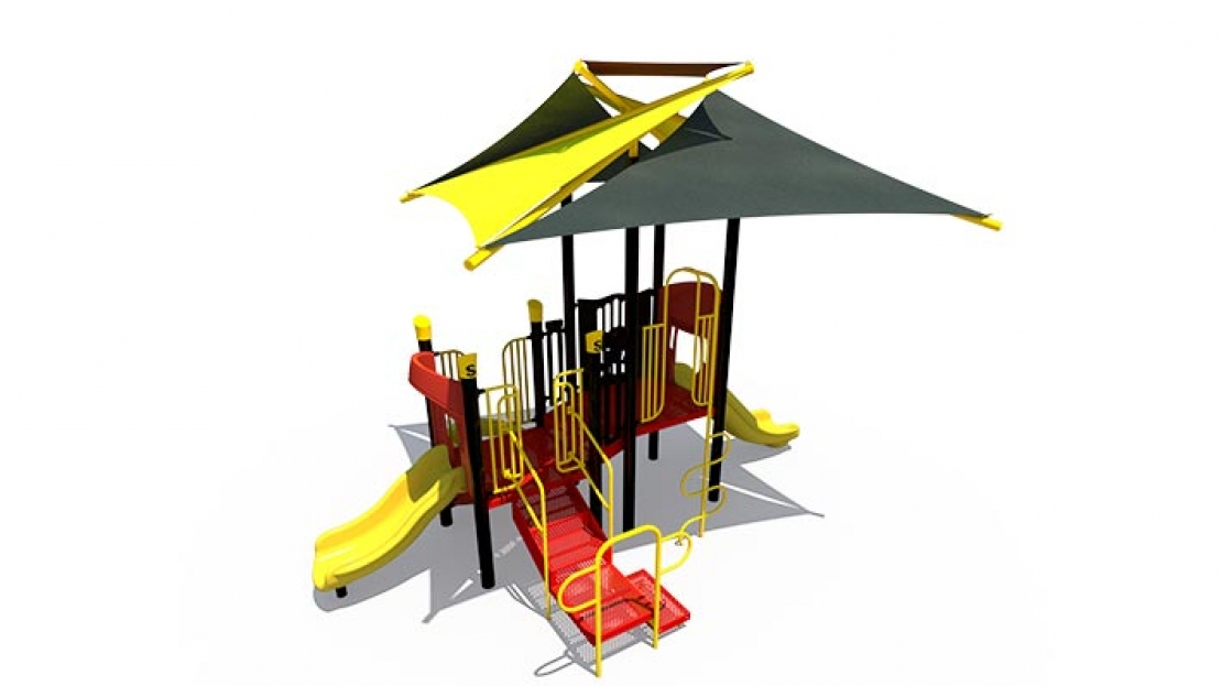 steel play structure with shade