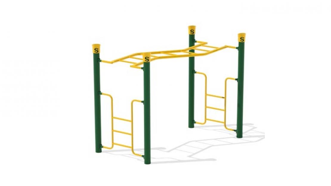 freestanding play equiopment zig zag overhead ladder