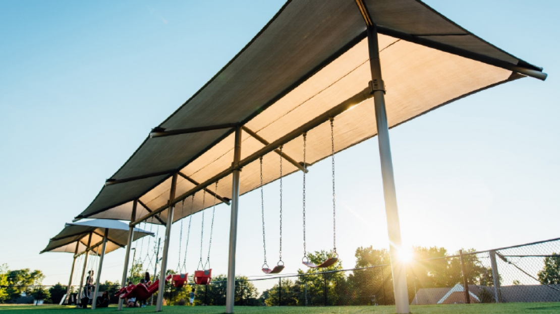 playground swing frame with shade