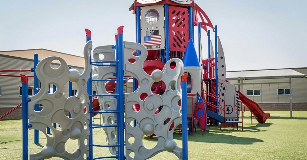 space themed school playground in texas