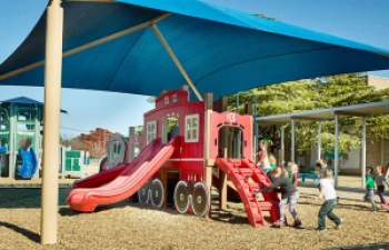 shaded train playground