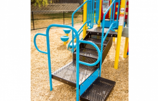 ADA transition stair for commercial playgrounds