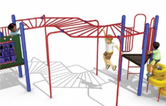 offset straight rung overhead ladder for playgrounds