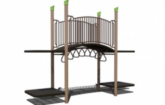 arch bridge with overhead ladder playground component