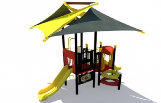 shaded playground structure