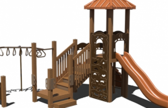recycled playground structure with overhead ladder