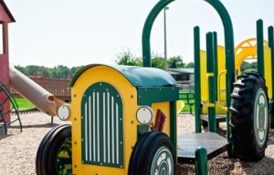 tractor theme playground slide