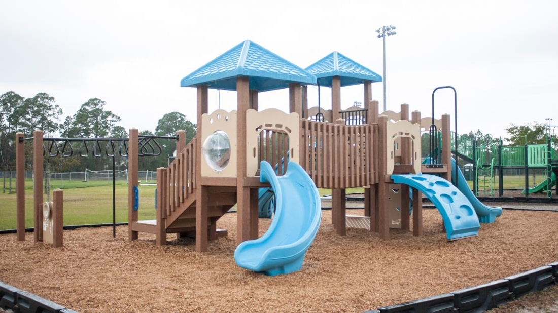 commercial playground with slides