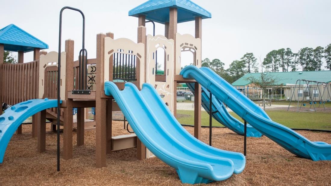 blue playground slides